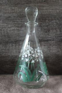 Belle carafe à Liqueur décor muguet