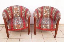 Paire de fauteuils corbeille