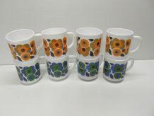Lot de 8 mugs fleurs de Lotus