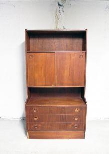 Bibliothèque meuble rangement vintage en teck danois 1970's