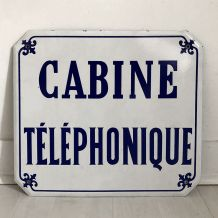 """Plaque émaillée """"Cabine Téléphonique"""" vintage 60's"""