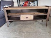 Meuble tv industriel bois métal dimensions 140x42x58 .