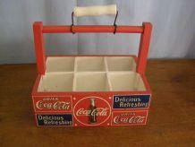 """Vintage: porte petites bouteilles en bois """"Coca Cola"""""""