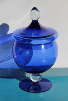Vintage bleu Cobalt sucrier en verre