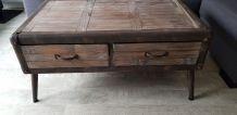 Table basse industrielle neuve 100*61*46 bois métal 2 tiroir