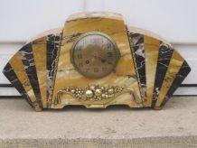 pendule en marbre panier bronze art déco
