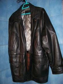 veste 3/4 cuir noir T58