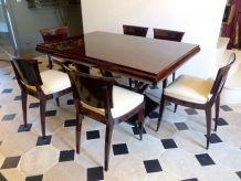 Table ART DECO en Palissandre des Indes + 6 Chaises cuir