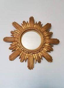 miroir soleil mural vintage en résine dorée made en Italie