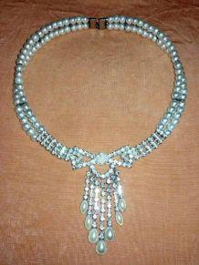 Collier vintage perle et Strass pour mariage, baptême