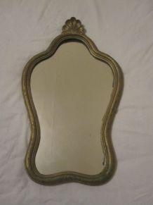 miroir coquille bois doré