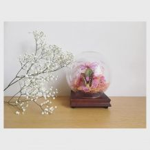 Globe fleurs tissus et papillon