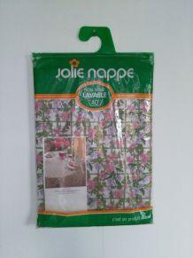 Nappe ronde vintage années 70 à fleurs