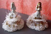 2 figurines communiante années 70 Décor de gâteau