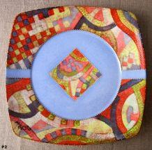 plat décoratif carré en porcelaine de limoges