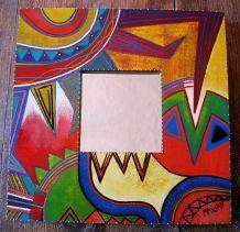 Miroir à suspendre en bois décoré main