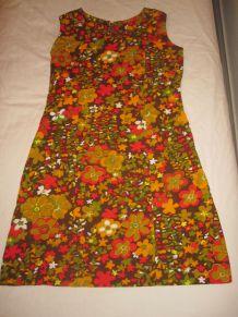 robe motif fleurs vintage 70