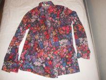 chemise motif fleurs vintage 70