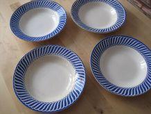 4 Assiettes Creuses a soupe  Digoin