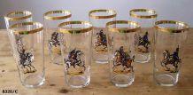 8 verres à orangeade anciens à décor napoléonien