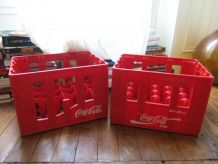 Lot de 2 caisses publicitaire Coca Cola rouge