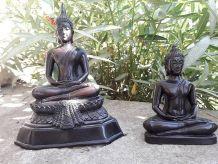 2 Bouddhas en résine noire