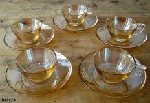 """5  tasses à café en verre irisé """"ELSA"""" années 50/60"""