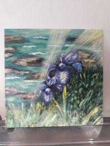 Tableau - Peinture à l'huile - Les Iris