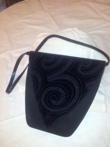 Femme-sac de soirée-noir daim/velours/cuir-1990's
