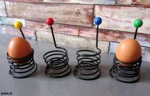 4 coquetiers anciens en métal et plastique années 50/60