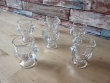 6 Coquetiers en verre transparent  FRANCE,forme poule
