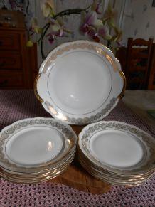 service à dessert porcelaine Chauvigny