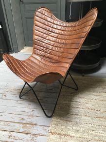 Fauteuil type AA en cuir naturel