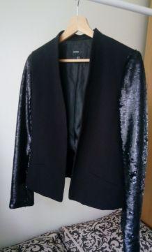 une veste noire avec les manches paillettes