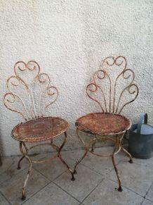 Chaises anciennes en fer forgé