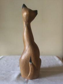 Statuette chat bois