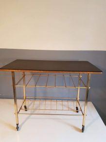 desserte vintage plateau skaî noir et structure métal doré
