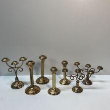 Ensemble de 7 petits bougeoirs en laiton doré