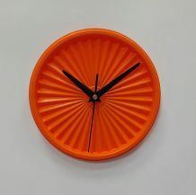 "Horloge vintage, pendule ""Tupperware Orange""- 17cm"