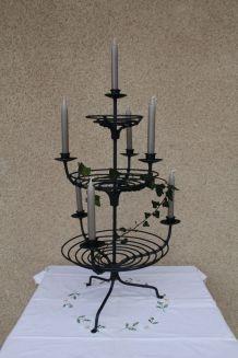 Chandelier, bougeoir, candélabre, 7 branches, en fils métal