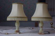 Paire de lampe de chevet en albatre