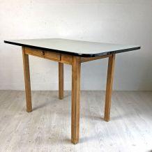 Table vintage 60's bois et formica gris