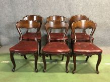 Suite de 6 chaises en acajou XIXème - skaï rouge