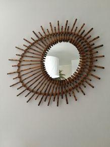 Miroir soleil bambou annees 60