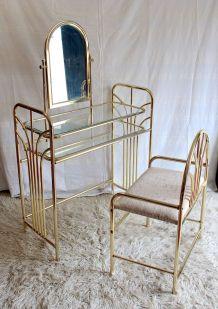 Coiffeuse et son siège métal doré – années 70