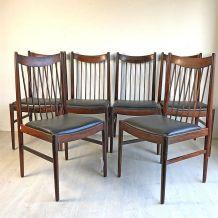 Ensemble de 6 chaises scandinaves en palissandre vintage 60'