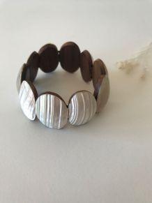 Bracelet vintage perles ovales en bois et nacre