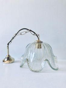 Suspension luminaire en verre et laiton