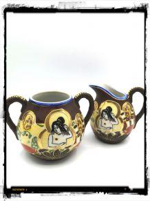 Pot à lait et sucrier porcelaine asiatique