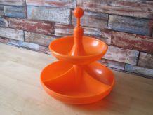 Serviteur de table en plastique coloré orange  vintage